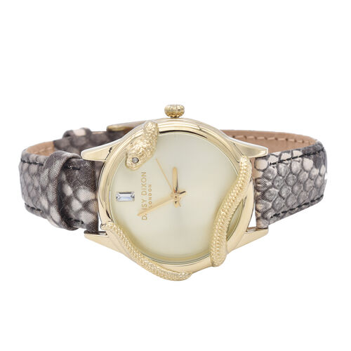 Daisy Dixon Gold Tone Watch with Snakeskin Strap With Black Clutch Bag