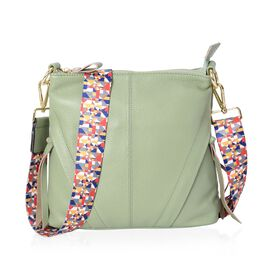 Super Soft 100% Genuine Leather Mint Green Colour Multi Compartment Crossbody Bag with Detachable Cr