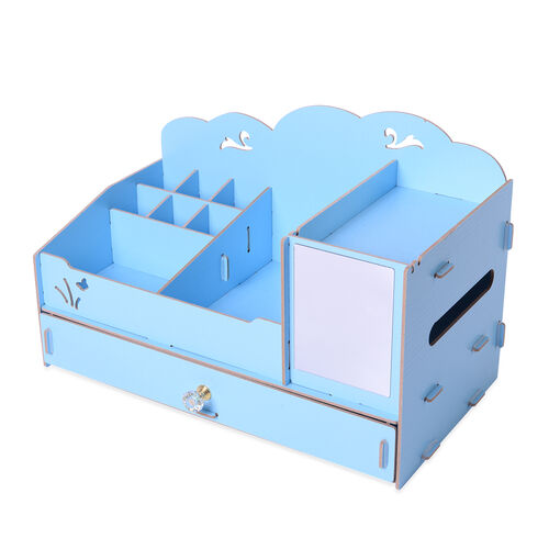 DIY Jewellery and Cosmetic Organiser with Mirror (36x19.5x23cm) - Light Blue
