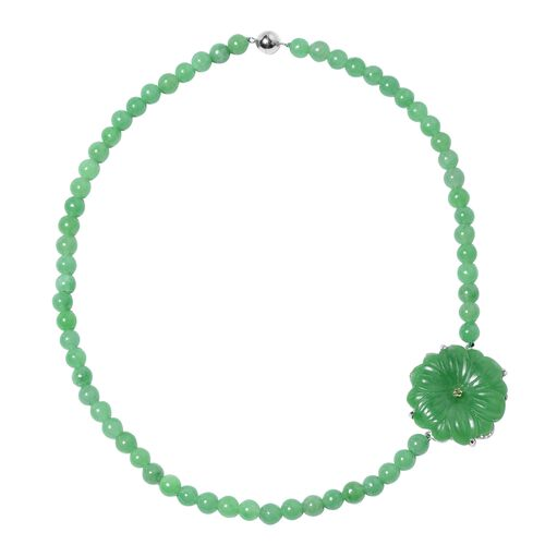 Green Jade and Russian Diopside Floral Beaded Necklace in Rhodium Plated Silver 18 Inch