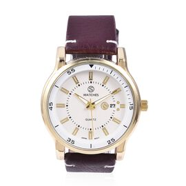 STRADA Japanese Movement Water Resistant Watch with Burgundy Strap