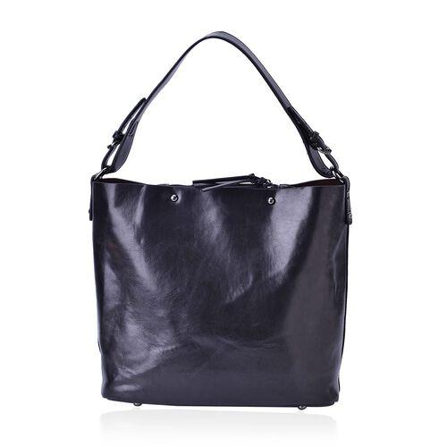 Sienna Black Bucket Bag with Adjustable Shoulder Strap (Size 30x30x14 Cm)