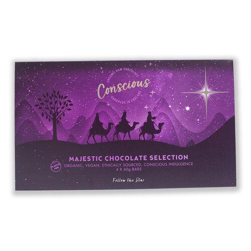 The Raw Chocolate Company Majestic Selection Box (4 x 60g Bars - Peppermint, Orange & Tangerine, Love Potion No. 9, Dark Side 75%)