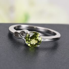 Hebei Peridot Zodiac-Leo Ring in Platinum Overlay Sterling Silver 0.720 Ct.