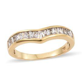J Francis - 14K Gold Overlay Sterling Silver (Bgt) Wishbone Ring Made with SWAROVSKI ZIRCONIA