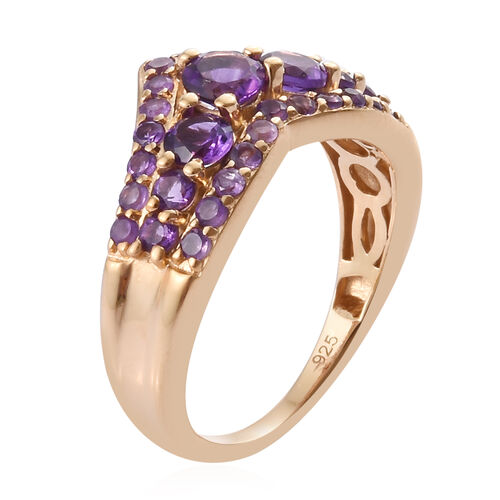 Amethyst (Rnd) Wishbone Ring in 14K Gold Overlay Sterling Silver 1.000 Ct.