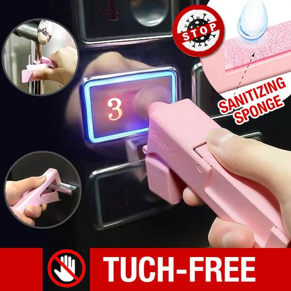Portable Zero Contact Sanitary Tools for Opening Doors,  Pressing Elevator Button and Empty Storage Bottles (Size 11.5x2.5x3 Cm) - Pink