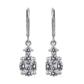 J Francis - Platinum Overlay Sterling Silver (Mrq and Sqr) Lever Back Earrings Made with SWAROVSKI ZIRCONIA