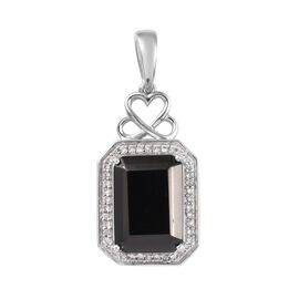 5 Carat Elite Shungite and Cambodian Zircon Halo Pendant in Platinum Plated Sterling Silver