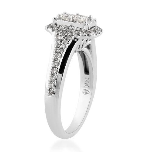 NY Close Out 14K White Gold Diamond (I1-I2/G-H) Ring 0.75 Ct, Gold wt 6.20 Gms