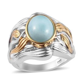 2.75 Ct Larimar Solitaire Ring in Platinum and Gold Plated Sterling Silver