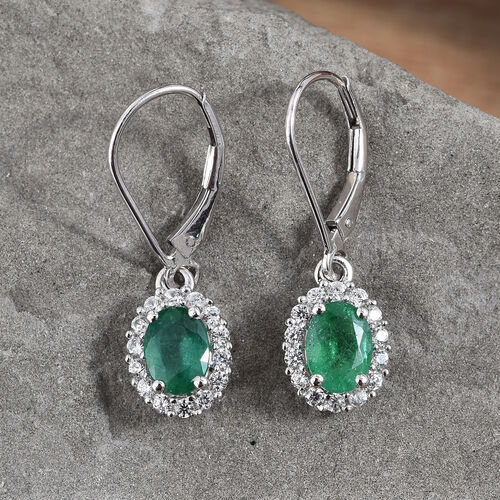 9K White Gold  AA Kagem Zambian Emerald (Ovl 7x5 mm), Natural Cambodian Zircon Lever Back Earrings 2.000 Ct.
