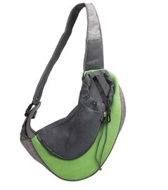Grey and Green Pet Bag with Shoulder Strap (Size 43x15x25cm)