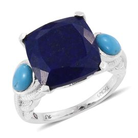 Royal Jaipur Lapis Lazuli (Cush 9.65 Ct), Arizona Sleeping Beauty Turquoise and Burmese Ruby Ring in Platinum Overlay Sterling Silver 10.750 Ct.