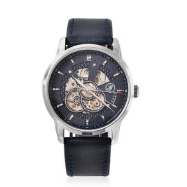 GENOA Classy Mechanical Silver Tone Watch with Navy Blue Strap