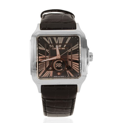 CERRUTI 1881: Swiss Parts Water Resistant Mens Watch with Leather Strap - Black and Silver. Water re