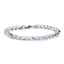 J Francis - Crystal From Swarovski AB Crystal Bracelet (Size 7.5) in Platinum Overlay Sterling Silve