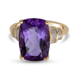 9K Yellow Gold Lusaka Amethyst and Diamond  Ring 6.44 Ct.