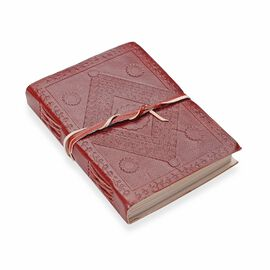 Diamond Pattern Leather Diary with Strap (Size 17.78x12.7 Cm) - Maroon