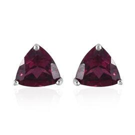 Purple Garnet (Trl) Stud Earrings (with Push Back) in Platinum Overlay Sterling Silver 1.500 Ct.