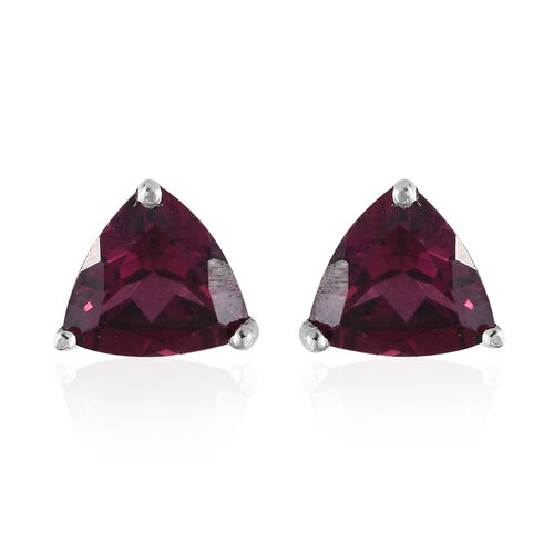 Purple Garnet (Trl) Stud Earrings (with Push Back) in Platinum Overlay Sterling Silver 1.500 Ct.