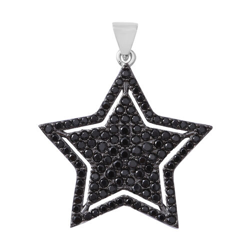 Boi Ploi Black Spinel (Rnd) Star Pendant in Rhodium Overlay with Black Plating Sterling Silver 4.010 Ct, Number of Gemstone 126