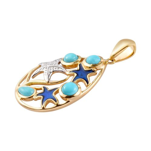 Arizona Sleeping Beauty Turquoise Enamelled Starfish Pendant in Platinum and Yellow Gold Overlay Sterling Silver 1.25 Ct.