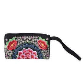 Embroidered Floral Pattern Clutch Bag with Zipper Closure (Size 18.5x10 Cm) - Red
