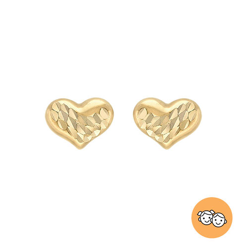 9K Yellow Gold Diamond Cut Heart-Shaped Stud Earrings (with Push Back)