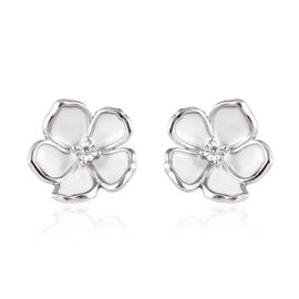 Diamond (Rnd) Enamelled Jasmine Flower Stud Earrings (with Push Back) in Platinum Overlay Sterling S