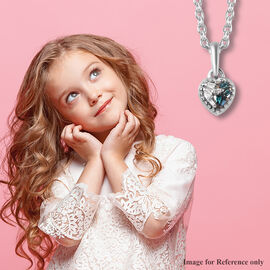Blue and White Diamond Heart Pendant with Chain (Size 20) in Platinum Overlay Sterling Silver