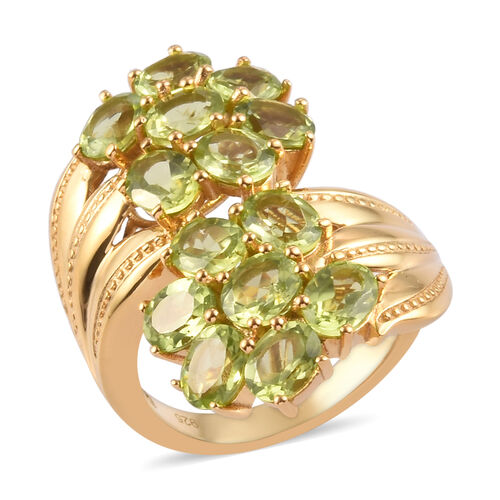 5.50 Ct AA Hebei Peridot Bypass Ring in Gold Plated Sterling Silver