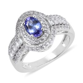 Designer Inspired -Tanzanite (Ovl),  Natural Cambodian White Zircon Ring in Rhodium Overlay Sterling