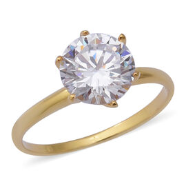 ELANZA Swiss Star Simulated Diamond (Rnd) Solitaire Ring in Sterling Silver