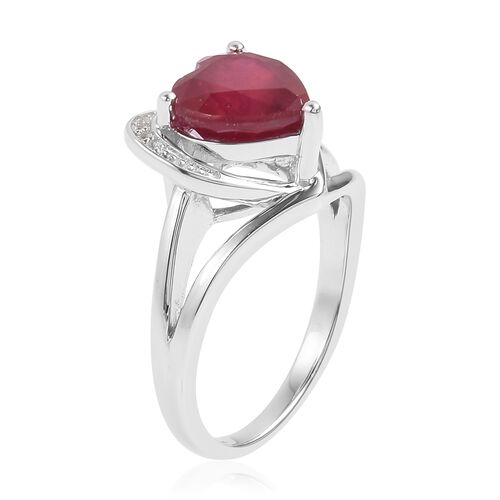 African Ruby (Hrt 5.00 Ct), Natural White Cambodian Zircon Ring in Rhodium Plated Sterling Silver 5.110 Ct.