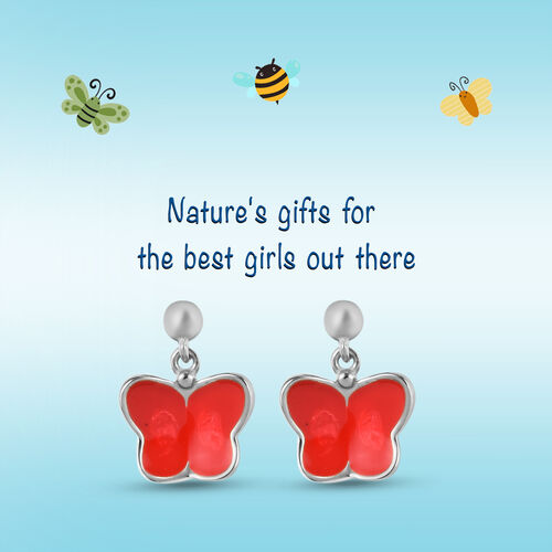Kids Butterfly Earrings in Platinum Plated Sterling Silver with Push Back