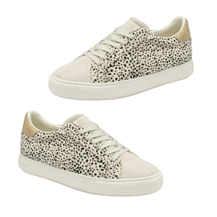 RAVEL Pearl Leopard Print Lace Up Trainer (Size 3) - White