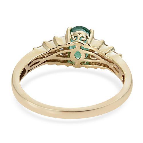Limited Edition- 9K Yellow Gold A AA Kagem Zambian Emerald (Rare Size Ovl 8X6 mm1.00 Ct), Diamond Ring 1.250 Ct.