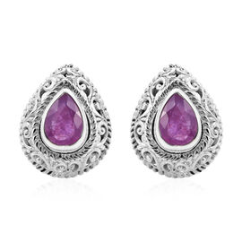 Royal Bali Collection - Pink Sapphire Earrings (with Push Back) in Sterling Silver 2.88 Ct.