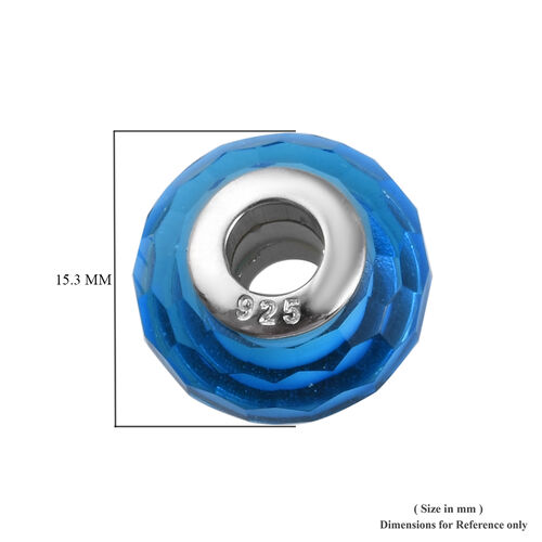 Charmes De Memoire Blue and White Murano Style Glass Bead Charm in Platinum Overlay Sterling Silver