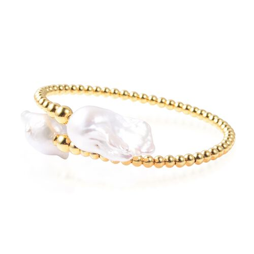 White Baroque Pearl Bangle (Size 7.5) in Yellow Gold Overlay Sterling Silver, Silver Wt. 7.78 Gms