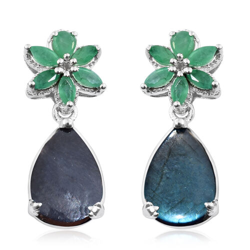 Natural Spectrolite (Pear), Kagem Zambian Emerald Earrings (with Push Back) in Platinum Overlay Ster