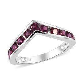 Rhodolite Garnet (Rnd) Wishbone Ring in Sterling Silver 1.250 Ct.