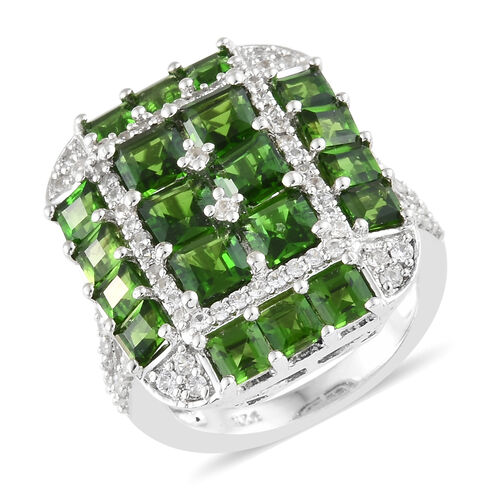 Russian Diopside (Princess Cut), Natural Cambodian Zircon Ring in Platinum Overlay Sterling Silver 5.000 Ct, Silver Wt 6.49 Gms.