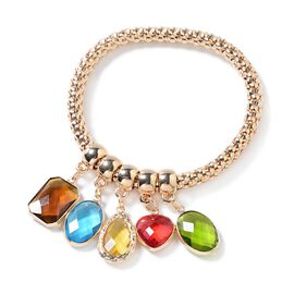 Simulated Multi Colour Gemstone Stretchable Bracelet (Size 6.5 - 8.5 Inches) in Yellow Gold Tone