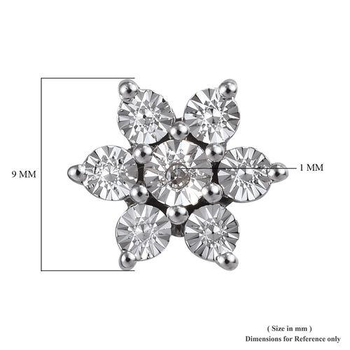 Diamond Floral Stud Earrings in Platinum Plated Sterling
