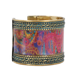 Meena Work Cuff Bangle (size 6.5) in Antique Brass