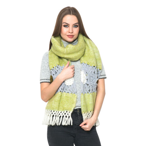 Lime Green Colour Winter Shawl with Fringes (Size 200x30 Cm)