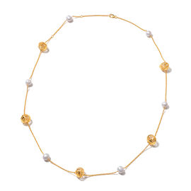 Isabella Liu Sea Rhyme Collection - Freshwater White Pearl and White Mother of Pearl Station Necklac