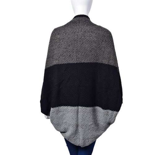 Black and Grey Colour Sleeve Poncho (Size 110x45 Cm)